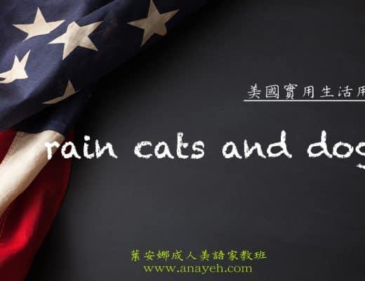 線上學習美國實用生活用語-rain cats and dogs | 葉安娜成人美語家教班 Ana yeh english